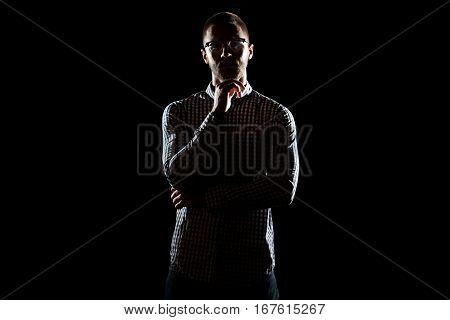 Siluet Young Man With Glasses Standing Strong