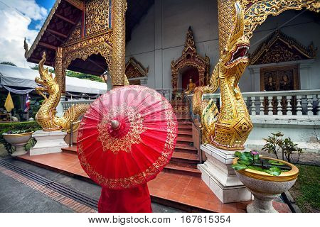 Woman Near The Temple In Thailand