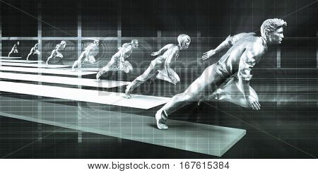 Business People in Competition as a Corporate Concept 3D Illustration Render