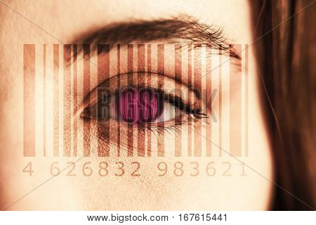 Composite image of Bar code against portrait of woman with gray eye