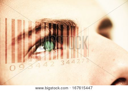 Composite image of Bar code against cropped image of man with gray eyes
