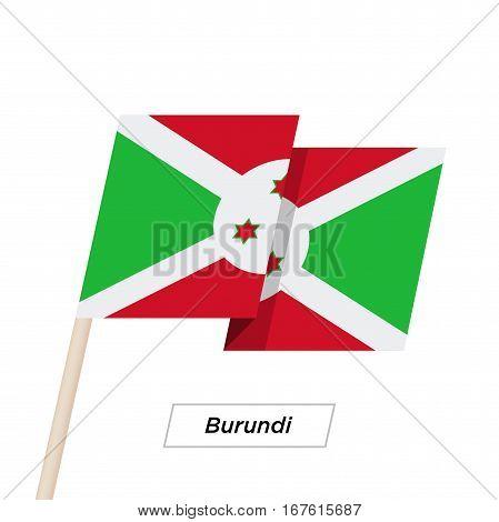 Burundi Ribbon Waving Flag Isolated on White. Vector Illustration. Burundi Flag with Sharp Corners