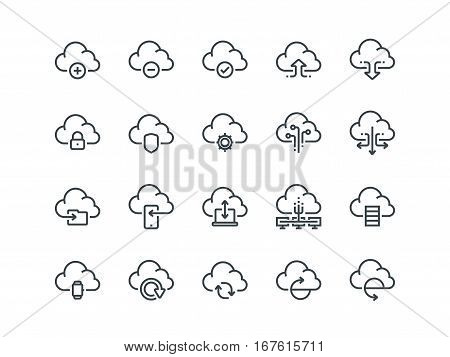Cloud storage. Set of outline vector icons. Includes such as Data Synchronisation, Transfer, Cloud Settings and other on a white background.
