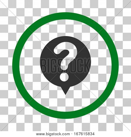 Status Query rounded icon. Vector illustration style is flat iconic bicolor symbol inside a circle green and gray colors transparent background. Designed for web and software interfaces.
