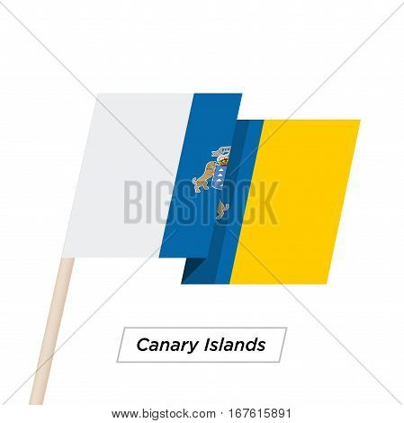Canary Islands Ribbon Waving Flag Isolated on White. Vector Illustration. Canary Islands Flag with Sharp Corners
