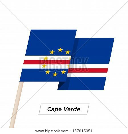 Cape Verde Ribbon Waving Flag Isolated on White. Vector Illustration. Cape Verde Flag with Sharp Corners