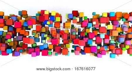 Abstract Rainbow Design on White Background Art 3D Illustration Render