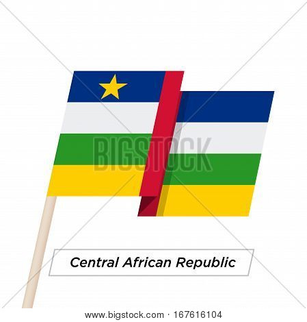 Central African Republic Ribbon Waving Flag Isolated on White. Vector Illustration. Central African Republic Flag with Sharp Corners