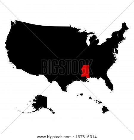 map of the U.S. state of Mississippi