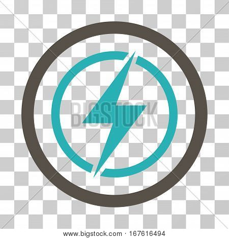 Electrical Hazard rounded icon. Vector illustration style is flat iconic bicolor symbol inside a circle grey and cyan colors transparent background. Designed for web and software interfaces.