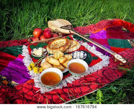 Picnic Whit Kazakh Traditional Food