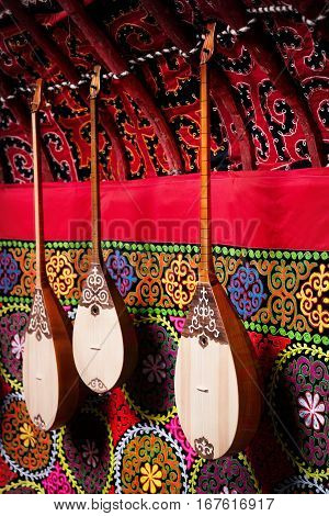 Dombra Instrument In Kazakh Yurt Interior