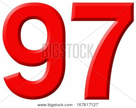 Numeral 97, Ninety Seven, Isolated On White Background, 3D Render