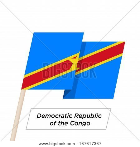 Democratic Republic of the Congo Ribbon Waving Flag Isolated on White. Vector Illustration. Democratic Republic of the Congo Flag with Sharp Corners