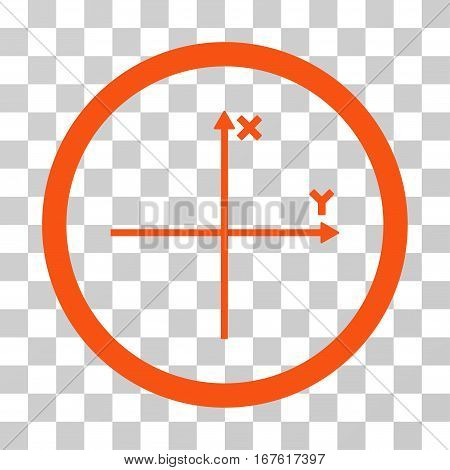Coordinate Axis rounded icon. Vector illustration style is flat iconic bicolor symbol inside a circle orange and gray colors transparent background. Designed for web and software interfaces.