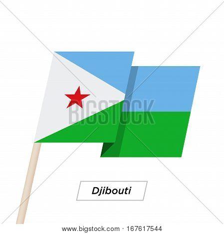 Djibouti Ribbon Waving Flag Isolated on White. Vector Illustration. Djibouti Flag with Sharp Corners