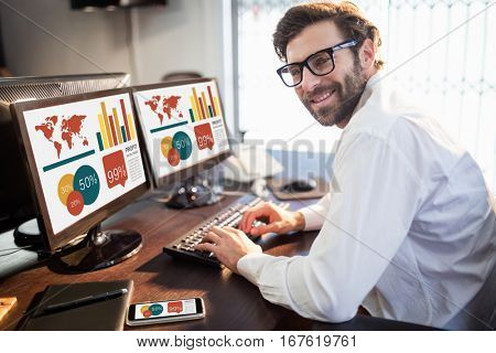Graphic image of business presentation against portrait of creative businessman using computer