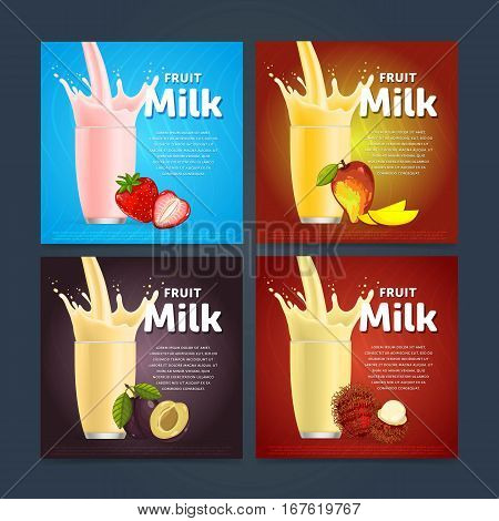 Milkshake concept with milk splash in glass and fruit vector illustration. Milk dessert, yogurt, fruit mix, cocktail drink, smoothie with strawberry, plum, rambutan, mango template. Dairy product.