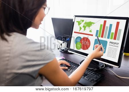 Digitally generated image of business presentation against woman watching her computer