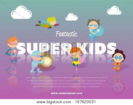 Fantastic super kids banner with children dressed in carnival costumes of superheroes vector illustration. Super hero kids in action, playing and flying. Cute little superhero characters in flat style
