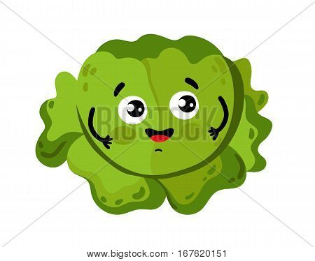 Cute vegetable cabbage cartoon character isolated on white background vector illustration. Funny positive and friendly cabbage emoticon face icon. Happy smile cartoon face, comical vegetable mascot