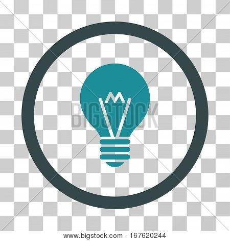 Hint Bulb rounded icon. Vector illustration style is flat iconic bicolor symbol inside a circle soft blue colors transparent background. Designed for web and software interfaces.