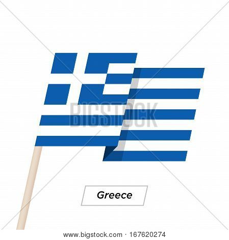 Greece Ribbon Waving Flag Isolated on White. Vector Illustration. Greece Flag with Sharp Corners