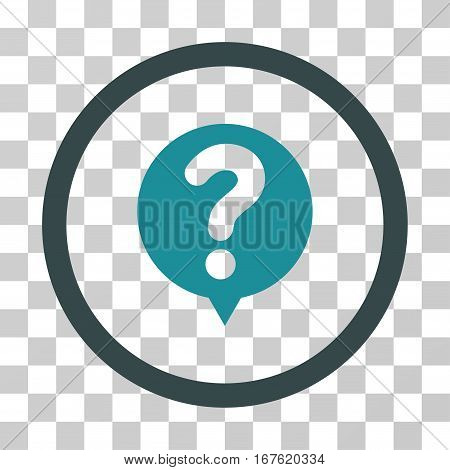 Status Query rounded icon. Vector illustration style is flat iconic bicolor symbol inside a circle soft blue colors transparent background. Designed for web and software interfaces.