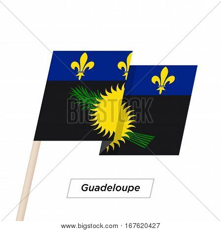 Guadeloupe Ribbon Waving Flag Isolated on White. Vector Illustration. Guadeloupe Flag with Sharp Corners