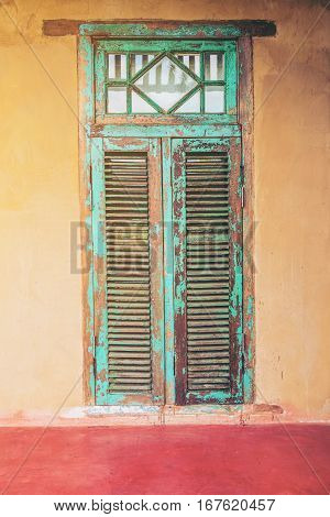 Vintage Style Old Aged House Door And Window