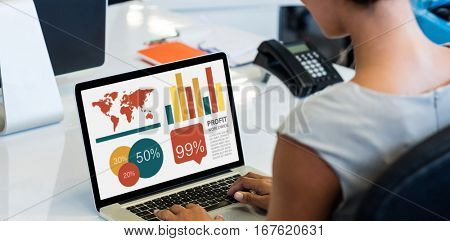 Graphic image of business presentation against woman working on laptop while sitting on chair
