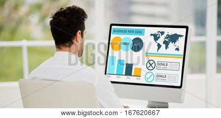Computer graphic image of business presentation with charts and text against businessman working on computer at office