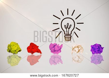 Purple crumpled paper ball against idea and innovation graphic