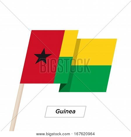 Guinea Ribbon Waving Flag Isolated on White. Vector Illustration. Guinea Flag with Sharp Corners