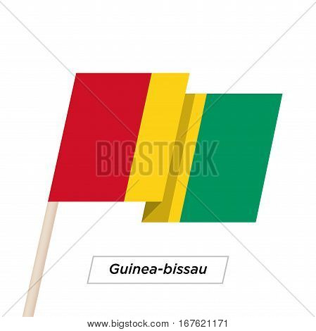 Guinea-bissau Ribbon Waving Flag Isolated on White. Vector Illustration. Guinea-bissau Flag with Sharp Corners