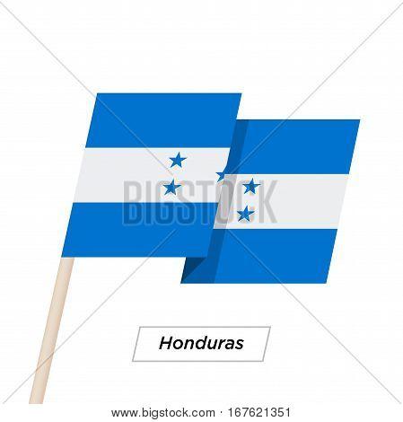Honduras Ribbon Waving Flag Isolated on White. Vector Illustration. Honduras Flag with Sharp Corners