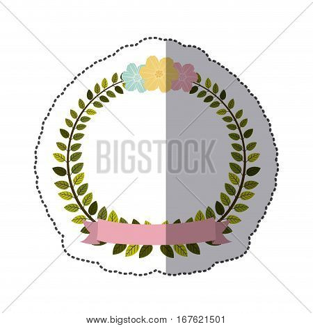 sticker colorful arch of leaves with pastel flowers and label vector illustration