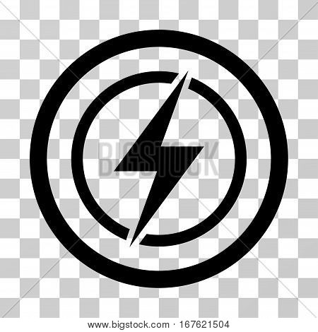 Electrical Hazard rounded icon. Vector illustration style is flat iconic symbol inside a circle black color transparent background. Designed for web and software interfaces.