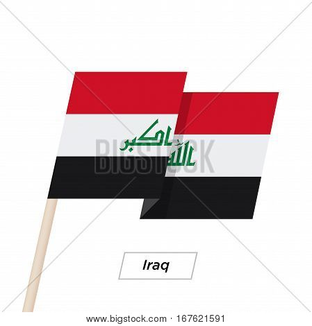 Iraq Ribbon Waving Flag Isolated on White. Vector Illustration. Iraq Flag with Sharp Corners
