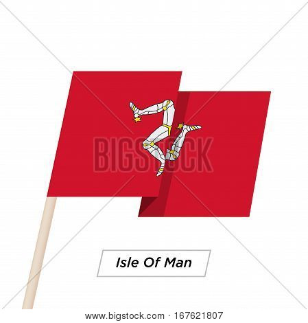 Isle Of Man Ribbon Waving Flag Isolated on White. Vector Illustration. Isle Of Man Flag with Sharp Corners