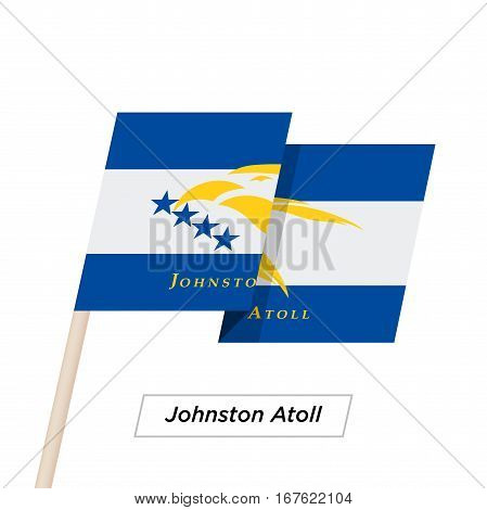 Johnston Atoll Ribbon Waving Flag Isolated on White. Vector Illustration. Johnston Atoll Flag with Sharp Corners