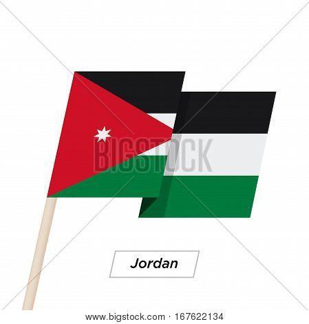 Jordan Ribbon Waving Flag Isolated on White. Vector Illustration. Jordan Flag with Sharp Corners