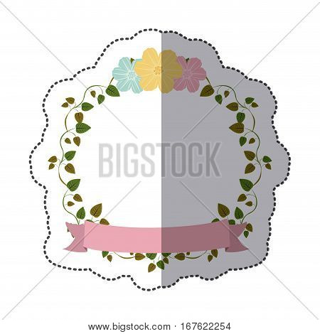 sticker colorful ornament creepers with flowers and pink label vector illustration