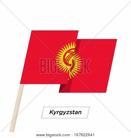 Kyrgyzstan Ribbon Waving Flag Isolated on White. Vector Illustration. Kyrgyzstan Flag with Sharp Corners