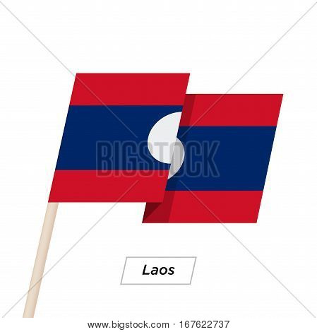 Laos Ribbon Waving Flag Isolated on White. Vector Illustration. Laos Flag with Sharp Corners