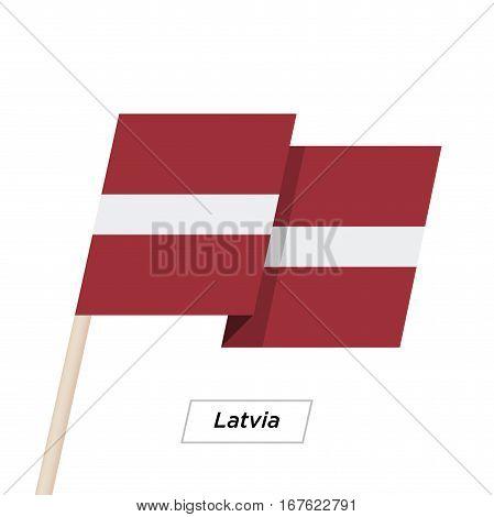 Latvia Ribbon Waving Flag Isolated on White. Vector Illustration. Latvia Flag with Sharp Corners