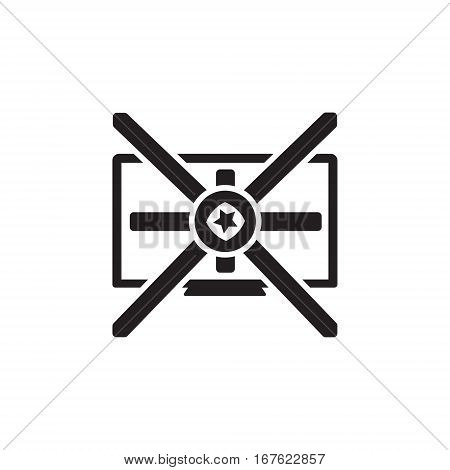 Vector icon or illustration showing television marketing and advertising with star in one balck color