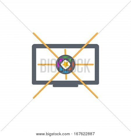 Vector icon or illustration showing television marketing and advertising with star in outline design style