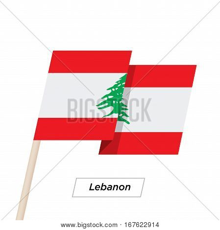 Lebanon Ribbon Waving Flag Isolated on White. Vector Illustration. Lebanon Flag with Sharp Corners