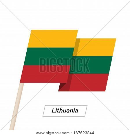 Lithuania Ribbon Waving Flag Isolated on White. Vector Illustration. Lithuania Flag with Sharp Corners